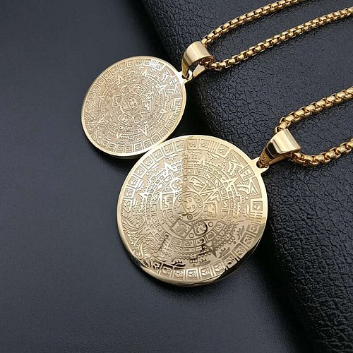 Hip Hop Gold Color Stainless Steel Mayan Sundial Memorial Virgin Mary Pendants Necklaces for Men Rapper Jewelry Drop Shipping