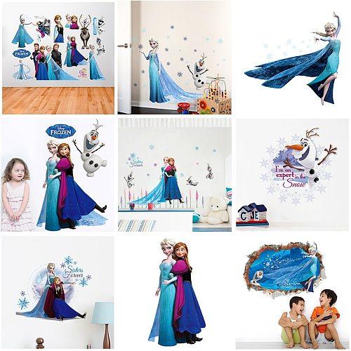 Cartoon Elsa Anna princess wall stickers home decor living room Disney Frozen wall decals pvc mural art diy posters decoration