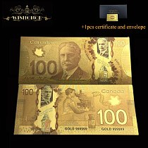 10pcs/Lot Nice Canada Color Gold Banknote 100 Canadian Dollar Bill Money For Souveni Gifts