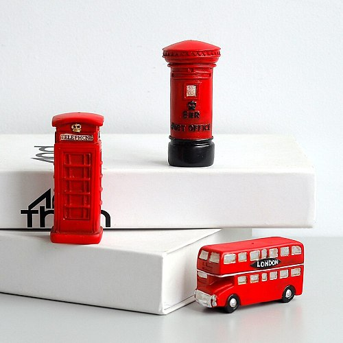England Retro Red London Telephone Box Bus Post Box Model Ornaments Children's Room Decoration Resin Crafts Home Decoration