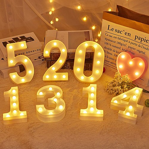 DIY LED Letters 26 English 0-9 Digital Number Creative Luminous LED Letter Night Light Christmas Wedding Birthday Party Decor