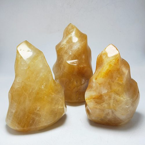 600g Mineral crystal flame natural golden quartz torch stone crystal free form healing Reiki home decor