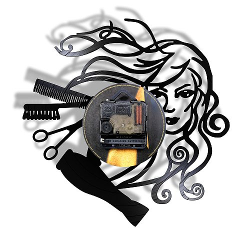 Modern Barbershop Vinyl Record LED Wall Light Clock Hanging Hairdresser Watch Zegar Scienny For Hairstyle Beauty Salon