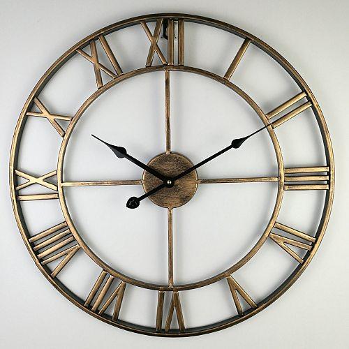 40-80cm Nordic Retro Metal Wrought Iron Roman Clock Wall Clock Modern Design Living Room Cafe Quiet Decorative Quartz Clock
