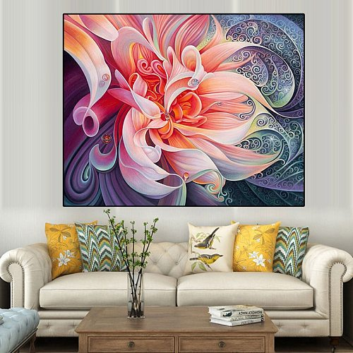 5D DIY Diamond Paintings Flower Cross Stitch Full Drill Kits Embroidery Mosaic Wall Art Picture with Rhinestones Home Decor Gift
