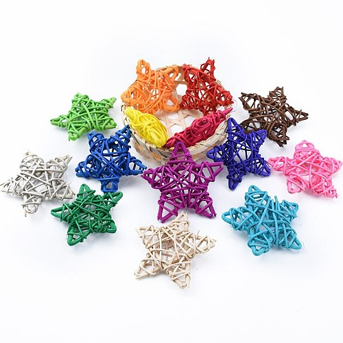 5pcs cheap artificial straw ball stars and love wedding home Christmas decoration rattan ball DIY curtain hanging accessories