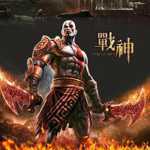God of War 3 Kratos Flame Knife 1:1 Model Neca Simulation Weapon Props Sword Anime Surrounding Cosplay Stage Pu Props Weapon Toy