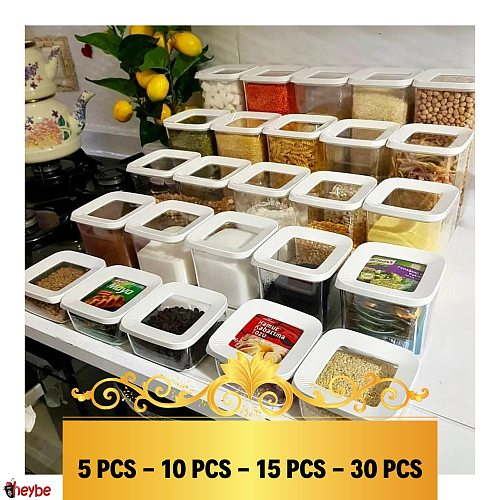 5-10-15-30 Pcs Transparent High Quality Square Storage Container Set Box Food Kitchen Organizer Vacuum Lid Airtight Rice Pasta Coffee Spice Original Glass Look Hygienic Jars Pantry Bottle Cereals Gaskets Clothe Nails