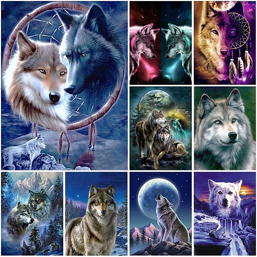 Diamond painting animal wolf art mural 5D DIY gift full square/round Rhinestone mosaic cross stitch kit for home decoration wall