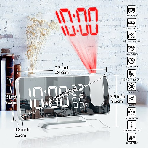 Projection Alarm Clock USB Wake Up Humidity Display Time Projector Electronic Desktop Decoration LED Digital Smart Home