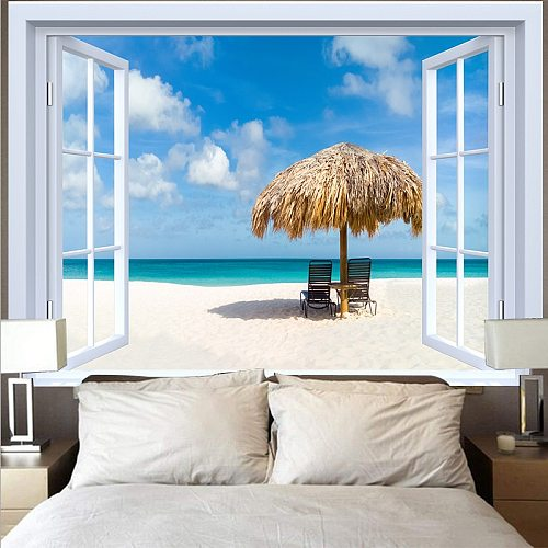 Blue Ocean Window Tapestry Hippie Beach Coconut Tree Wall Fabric Wall Hanging Sunset Tapestries Rugs Carpet Ceiling Home Decor
