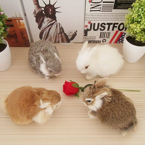 Easter Bunny Ornament Realistic Rabbit Fur Toys Doll Lifelike Animal Figurines Miniature Statue Craft Decoration Birthday Gift