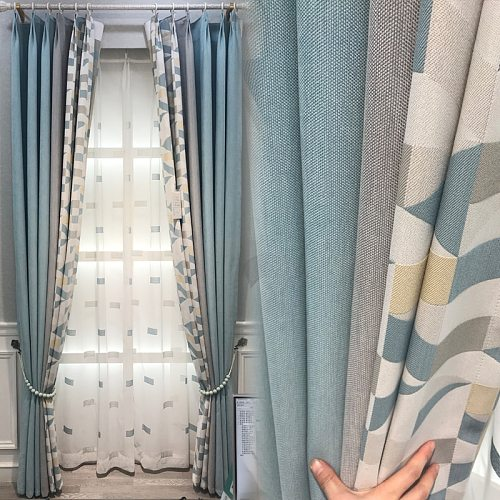 Curtains Finished for Living Room Bedroom Simple Modern Floor Window Blackout Curtains Nordic Style Curtains Nordic Style