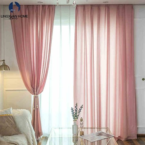 Modern Sillky Tulle Window Curtains For Living Room Solid Chiffon Sheer Voile Drapes Curtain For Bedroom Home Decor Finished