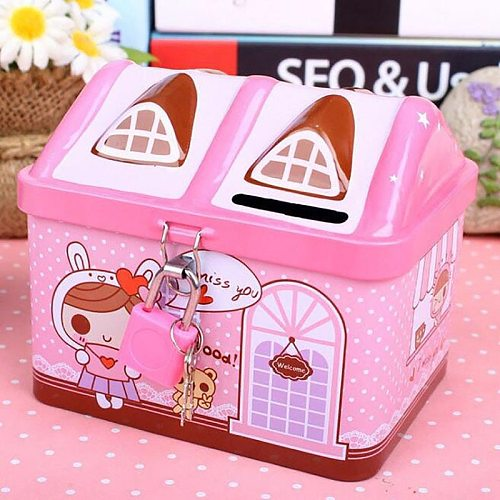 New Metal House Shape Piggy Bank Coin Safe Storage Box Child Piggy Banks Key Lock Money Box Creative Children Christmas Gift