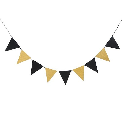 1 Pc Triangle Banner Decorative Black and Gold Pull Flag Party Bunting Photo Prop for Graduation Party Wedding Birthday Party