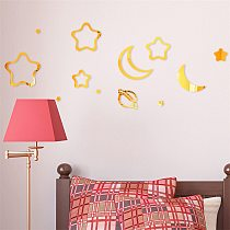 Acrylic Mirror Wall Sticker Deocorations of Moon and Star Shape 3D Wall Sticker Home Decor DIY Wall Sticker Living Room Decor