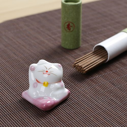 2PCS Lucky Cat Incense Burner Stick Ceramic Censer Holder Incense Frame DIY Home Fragrance Decoration Gift