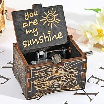 Engraving Pattern Music Box Retro Wooden Hand Crank Children You Are My Sunshine Souvenir Christmas Gifts Party Decoration