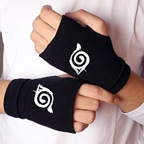 Anime Gloves Two-Dimensional Animation Cosplay Merchandise Uchiha Konoha Logo Cool Warm And Thick Double-Layer Cotton Luminous
