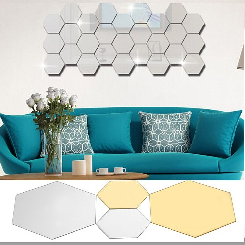 12Pcs Fashion Geometric Hexagon Mirror Wall Sticker DIY Enlarge Living Room Removable Safety Wall Decor Home Decoration