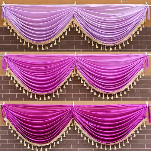 Decorations Home Valance for Living Room Wedding Stage Layout Stairs Handrail Party Window Colorful Curtains Valance for Bedroom