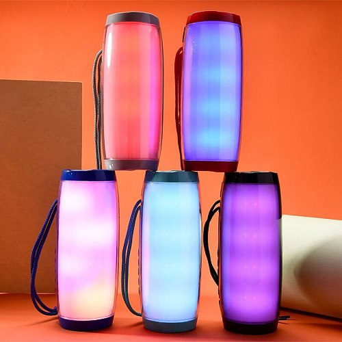 LED Light Bluetooth Speaker Outdoor Parties Stereo Surround Wireless Speaker Support TF Card FM Mode Portable Outdoor Music Box