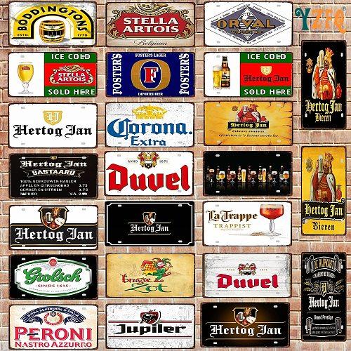 Belgian Beer License Plate Number Plaque Tin Sign Wall Pub Shop Home Garage  Art Decor Car Metal Poster 30X15CM DC-1636B
