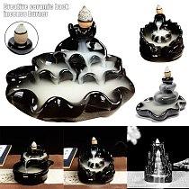 Backflow Censer Smoking Flow Ceramic Incense Holder Decoration for Home Garden DSD666