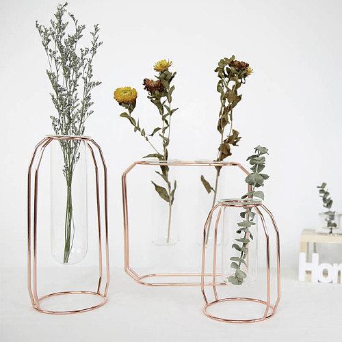 Nordic Creative Vase Home Decor Golden Glass Vase Hydroponic Plant Holder Iron Line Flowers Ornament Home Garden Decoration Hot