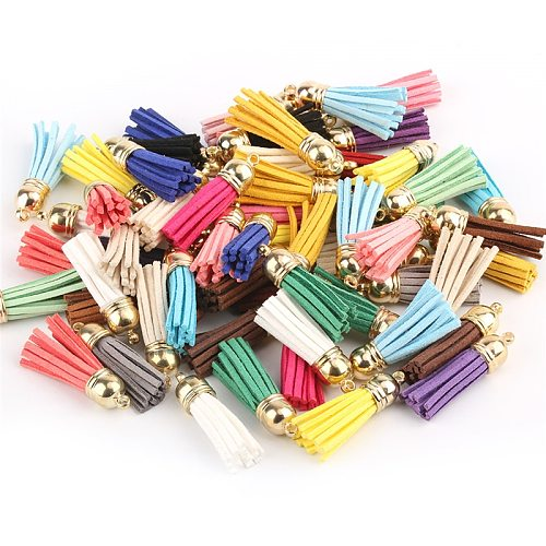 100 Pieces 40 mm Leather Tassel Pendants Faux Suede Tassel with Caps for Key Chain Straps DIY Accessories