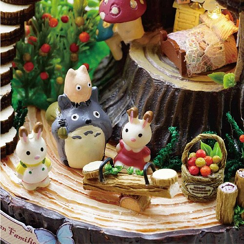 Totoro Candy Cat Figurines Handmade Music Box DIY Fantasy Forest Cabin Musical Box Assembled Educational Toys Birthday Gift
