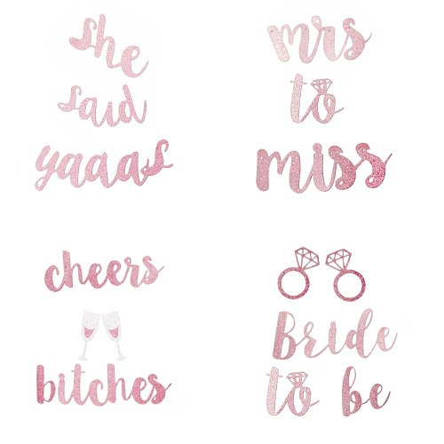 Rose Gold Glitter Banner Single Men and Women Party Supplies Miss To Mrs Banner Wedding Bridal Party Flags Banners & Accessories