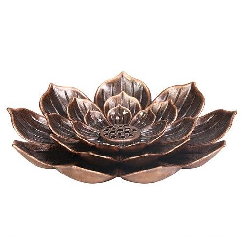 Alloy Incense Burner Stick Holder Plate Burner Plate Buddhism Coil Lotus Censer Buddhist Temples Yoga Studios Line Incense Burn