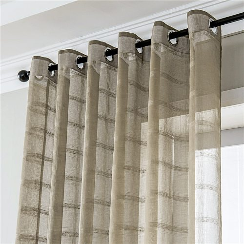 Coffee Geometric Pattern Voile Curtain Sheer Curtains for Living Room Bedroom Kitchen Decorative Door Window Tulle Drapes