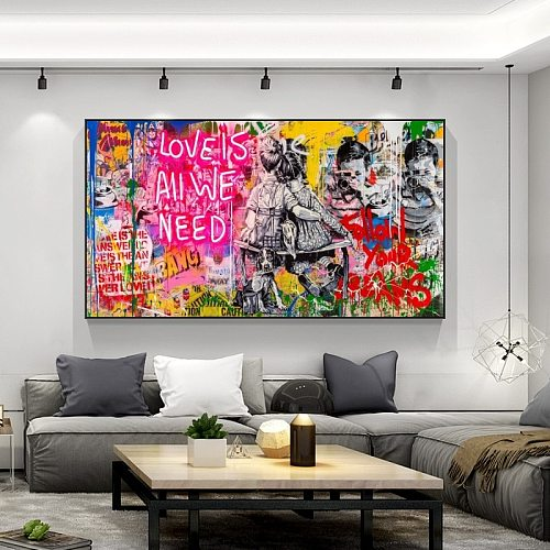 Banksy Graffiti Art Canvas Paintings Love Is All We Need Street Posters and Prints Wall Art Pictures Home Decor Cuadros No Frame