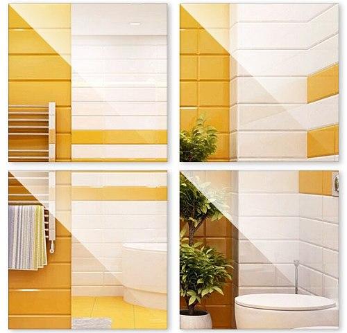 4pcs Mirror Wall Tile Stickers Waterproof Self Adhesive Square Sticker Home Decor 30cm x 30cm