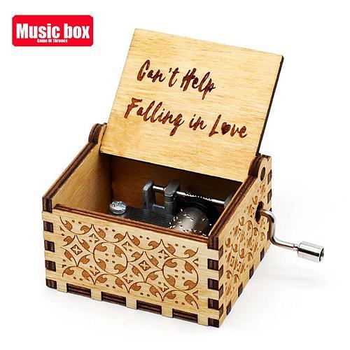 Antique Carved Music Box la belle et la bte Music Box jurassic park Godfather Wooden Hand Crank Theme Music Caixa De Musica