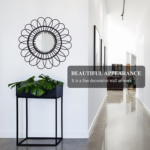1Pc Wall Mirror Decor Mirror Rattan Mirror Household Mirror Decoration (Black)