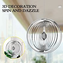 3D Round Rotating Wind Chimes Flowing-Light Effect Design Home Garden Decoration Outdoor Hanging Decor Gift Shiny Wind Spinners