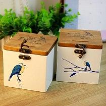 Wood solid wood blue bird money storage tank creative wood storage storage tank desktop storage box