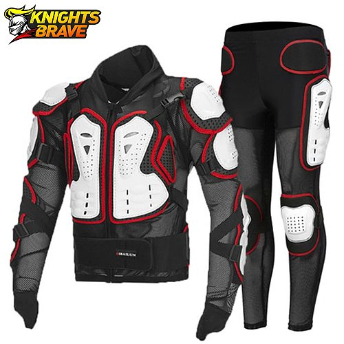 Motorcycle Jacket+Pants Moto Motocross Racing Motorcycle Body Armor Protective Gear Moto Guard Protective Equiment For 4 Season