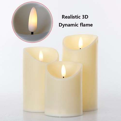 3Pcs/Set Remote Control LED Flameless Candles Battery Realistic 3D Dynamic Flame Candle Lights Led Tea Lights Home Decoration