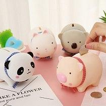 Cute Cartoon Animal Money Box Vinyl PVC Piggy Bank Portable  Panda Bear Rabbit Piggy Bank For Children Decoration Craft