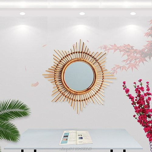 Nordic Rattan Handmade Mirror Flower Sun Frame Natural Vine Wall Decoration Bedroom Home Wall Hanging Mirror A01 21 Dropshipping