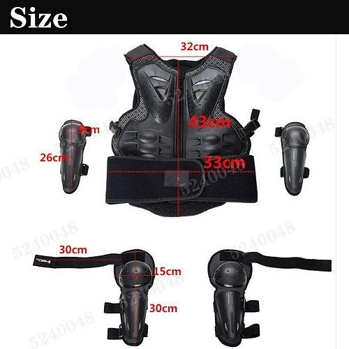 PE Hard Shell Children Motorcycle Full Body Protect Armor Chest Spine Vest Suits kid riding ATV Protection Knee Elbow pad jacket