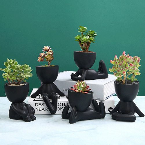 Nordic Creative Ceramics Little People Body Art Flower Pot Desktop Window Crafts Home Decorat Ornaments