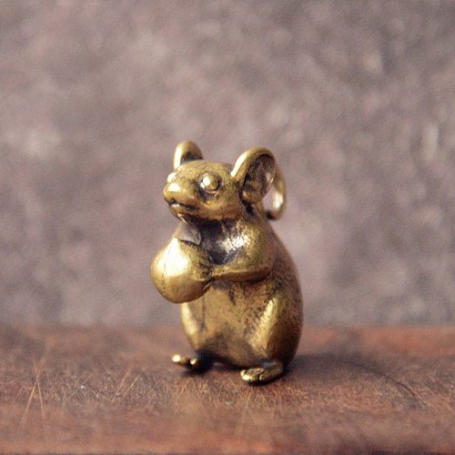 Pure Copper Mouse Offering Peach Figurines Miniatures Creative Cute Rat Lucky Animal Small Desktop Ornament Feng Shui Home Decor