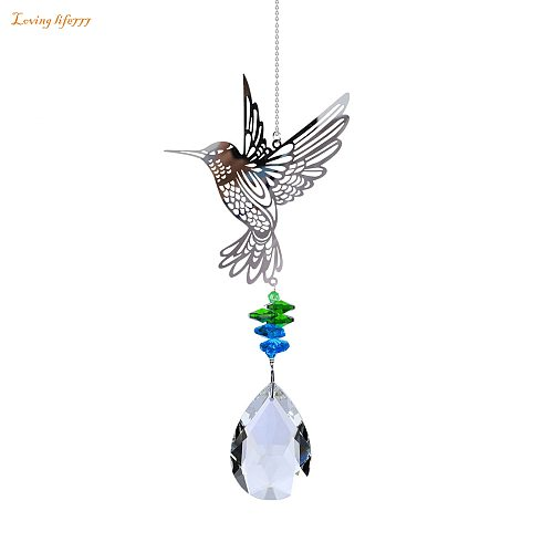 Garden Birds Wind Chimes Window Balcony Hummingbird Yard Home Wall Hanging Rainbow Crystal Ornament Suncatcher Pendant #BL2