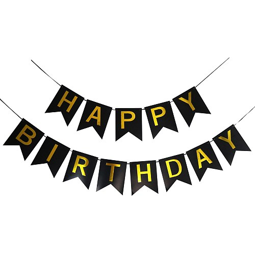 Happy Birthday Banner Shimmering Gold Letters Swallowtail Flag Happy Birthday Sign Party Boy Girl Party Decoration Accessories